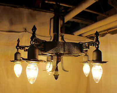 Vintage 1920's Gothic Chandelier Antique Spanish Cast Iron Ceiling Light Fixture