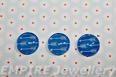 2 x White Arrows on Blue 12x12mm Glass Dome Cabochon Pattern Bow Arrow