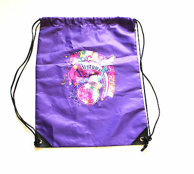 New Music Theme Drawstring Backpack Shoulder Straps Guitar Music Note , Purple