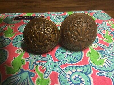 Antique Eastlake Brass Door Knobs  - Clam Shell - Architectural Salvage