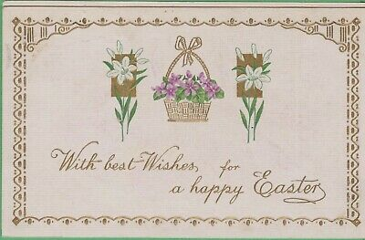 Vintage Antique Early 1900's Postcard Best Wishes Happy Easter 1914 Gold Accents