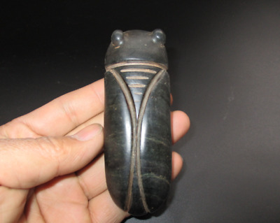 Old China,hongshan culture,jade,(black magnet),hand-carved,cicada,pendant, B185