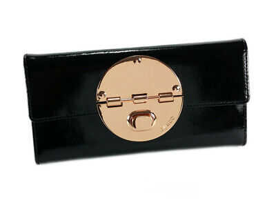 Mimco large turnlock black rose gold patent wallet RRP $199