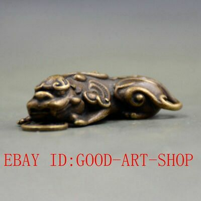 Chinese Old Pure Brass God Beast PiXiu Small Pendant Collectibles L22