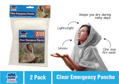 2X  Disposable Clear Emergency Poncho Rain Coat Adult Raincoat Outdoors Camping