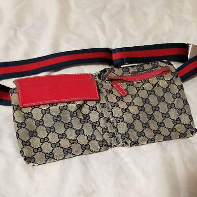 98ba66259 GUCCI GG Canvas Leather Waist Pouch Fanny Pack Bum Belt Bag Red Beige Used