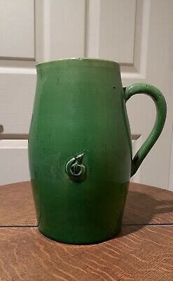 "Antique Green Pottery Water Pitcher 10"" Primitive Arts + Crafts Roycroft Era"