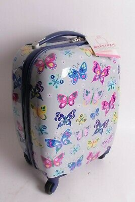Pottery Barn Kids Mackenzie small hard sided butterfly rolling luggage spinner