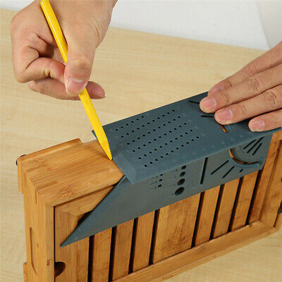 90° 3D Mitre Square Angle Measuring Woodworking Tool with Gauge and Rulers