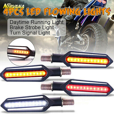 4* Motorcycle Sequential Flowing LED Turning Signal Indicator + DRL + Stop Light