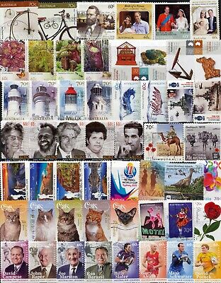 Australian Stamps -Sets 70c & 60c -107 Different (2 pages) Used/Bulk