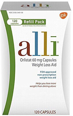 alli Orlistat 60mg Weight Loss Aid Refill Pack 120 Capsules, BRAND NEW, SEALED.