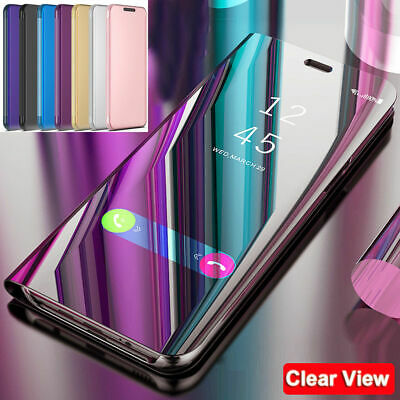 For Samsung S10 5G M10 M20 S9 + Case Clear View Mirror Flip Stand Hybrid Cover