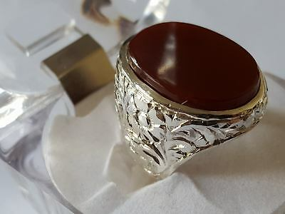 Blood Red Yemeni Aqeeq Ring Aqeeq Stone Ring Islamic Aqeeq Ring Akik Ring agate