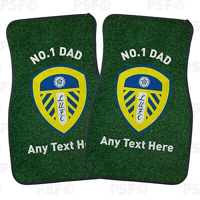 Official Leeds United FC Custom Car Mats 2 Front No.1 Dad Father's Day LCM015