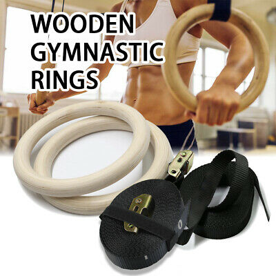 Wooden Olympic Gymnastic Rings Gym Pro Exercise Straps Training Fitness Workout