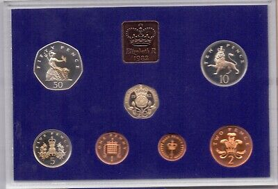 1982 Royal Mint Decimal Coinage Proof Set Perspex case 7 coins Collection group