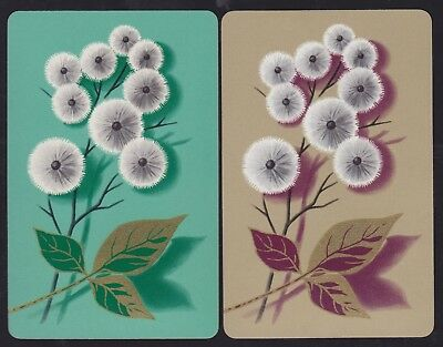 2 Single VINTAGE Swap/Playing Cards FLOWERS DANDELION PUFFS GRN/BRN GOLD LEAVES