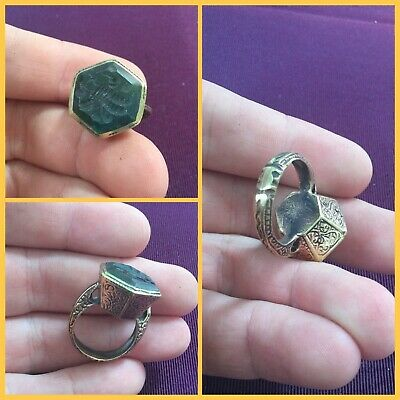 Rare post Medieval Bronze gilt jade Seal Ring 18th to 19th c