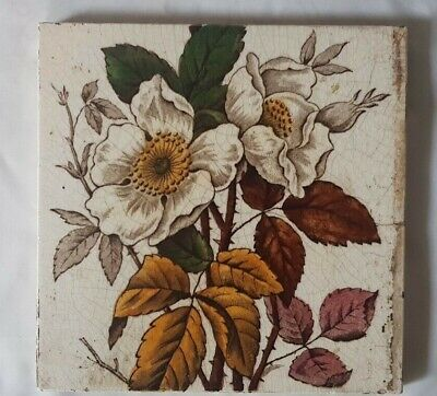 Rustic Arts & Crafts Floral Design 6 Inch Tile 19Th Century