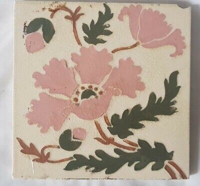 Charming English Pink And Green Stencilled Floral Design Victorian 6 Inch Tile