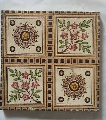 Charming Arts & Crafts Floral Quaterfoil Design 6 Inch Tile, 19Th Century.