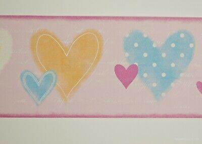 White Pink Blue Purple Love Hearts Galerie Just 4 Kids Wallpaper Border G90082