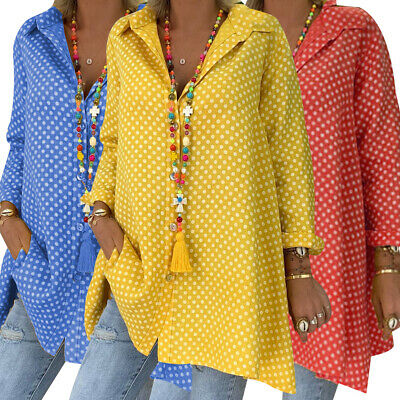 Womens Summer Long Sleeve Polka Dot Baggy Blouse Ladies Button Shirt Tunic Tops