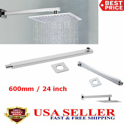 24'' Shower Head Extension Arm Square Chrome Rainshower  Rod Wall Mounted 60cm