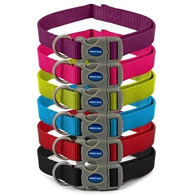 Ancol Nylon Adjustable Heritage Dog Collar Pink, Blue, Red, Black, Puppy Collars