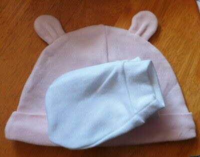 pink Baby Hat and 2 Pairs white Scratch Mittens 100% Cotton
