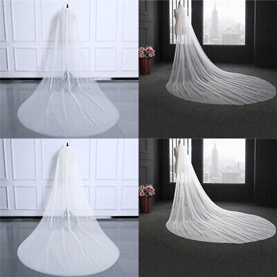 New White 3m Wedding Veils Cathedral Bridal Veil Simple 2 layer & Comb AU Ship