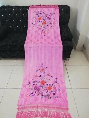 Antique Chinese Hand Embroidery Piano Shawl (sc arf) 205 By 69+Fringe 26 Cm good