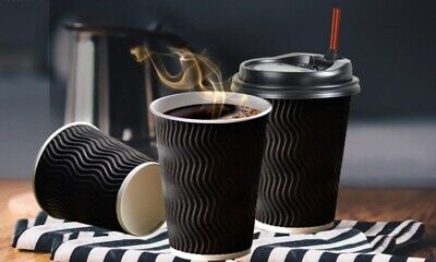 Disposable Premium Coffee Cups 8oz 14oz 16oz Cafe Takeaway Triple Wall CUPS ONLY