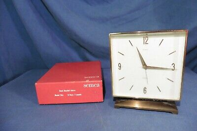 Vintage Swiss Semca Brass 7 jewels 8 day Alarm Clock with original box working