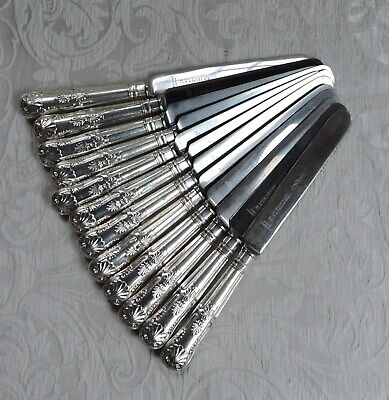 Set 12 King Pattern Tables Knives w Round Blades Thomas & Co c1920 Coltelli King