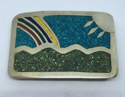 Vintage Mexico Silver-Tone Belt Buckle With Crushed Green & Blue Turquoise