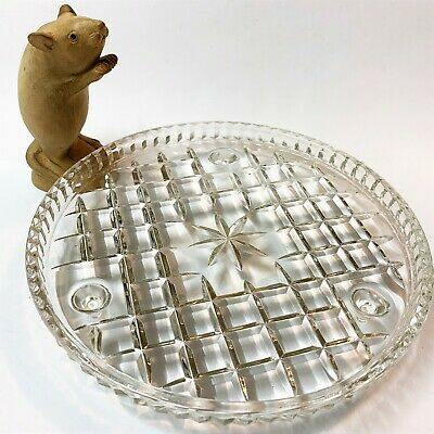 Depression Glass 3-Footed Clear Cake Plate - 21.5cm Diameter, Star Cut Centre