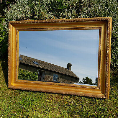 "Large C18th Style 3'4"" x 2'4"" Flared Gilt Framed Wall Mirror"