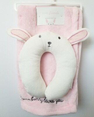 Ultra Soft Baby Blanket w/Travel Animal Face U-Pillow, Pink Bunny