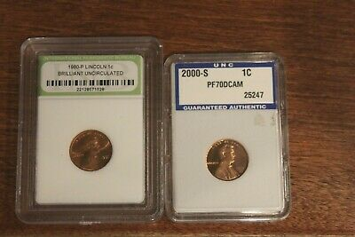 Lot of Ten Encapsulated BU/Proof Lincoln Memorial Cents - #7629