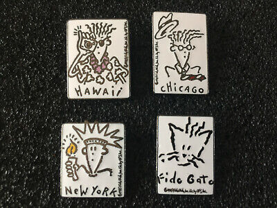 lot de 4 pin's boisson Seven Up  Fido Dido HAWAII CHICAGO NEW YORK FIDO GATO