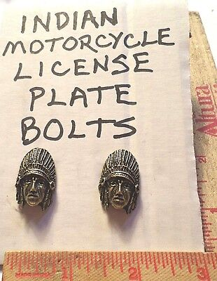 Vintage Indian motorcycle license plate bolts collectible old USA cycle tag gold