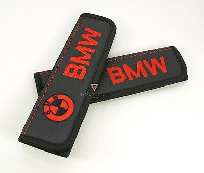 BMW Car Seat Belt Covers Shoulder Pads Black Leather Embroidery Red