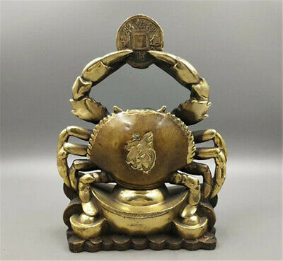 Rare Chinese Fengshui Bronze Lucky Crab Wealth Art Statue Sculpture 八方来财