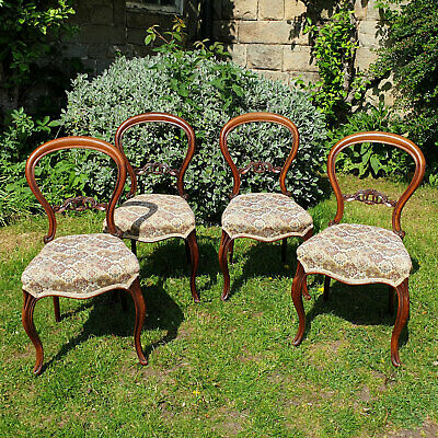 Victorian Walnut Balloon Back Set of 4 Dining Chairs C1870 (Antique)