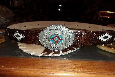 Mens Justin Leather Belt/Buckle Combo-12 Silver Conchos-Turquoise/ Coral Buckle-