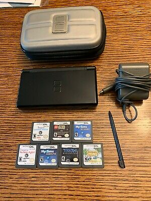 Nintendo DS Lite Onyx Black Handheld System Console USG-001 NDS w/ AC 7 Games