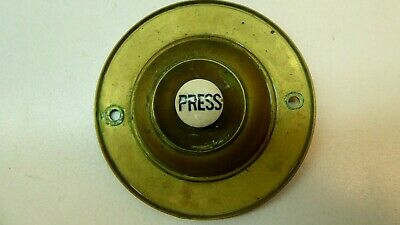 Antique Vintage Brass Door Bell Porcelain Press Button - Original