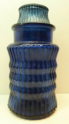 Vintage Cobalt Blue Ribbed Glass Chemist Pharmacy Bottle Jar Laboratory Canister